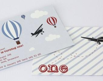 vintage plane invitations