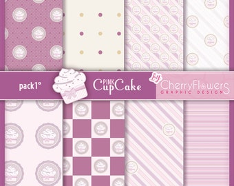 Digital scrapbooking paper-Pink CupCake 1-pink gray white-pastry cakes-invitations, labels, decoupage, prints