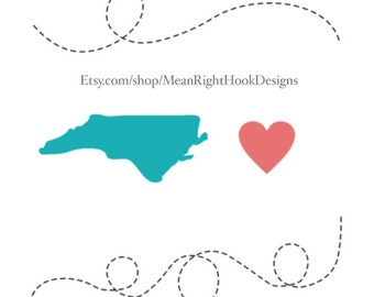 North Carolina SVG, state svg, silhouette, heart, and dotted lines INSTANT DOWNLOAD vector files for cutting machines - svg, png, dxf, eps