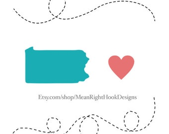 Pennsylvania SVG state silhouette, heart svg, and dotted lines INSTANT DOWNLOAD vector files for cutting machines - svg, png, dxf, eps