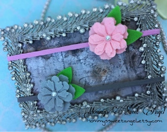 Pick 2 Felt flower headband, cherry blossoms headband, baby photo prop