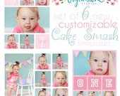 NEW - Set of *6* 8X10 Cake Smash Templates for Photoshop