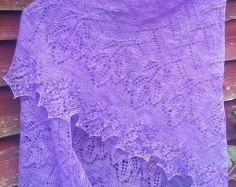 Handmade knitted lace shawl with beads. Made to order.