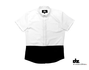Black White Oxford Shirt Short Sleeve Menswear Streetstyle Spring
