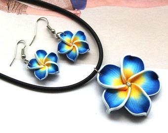 Blue Hawaii Flowers Crystal Earrings Pendant Necklace Set