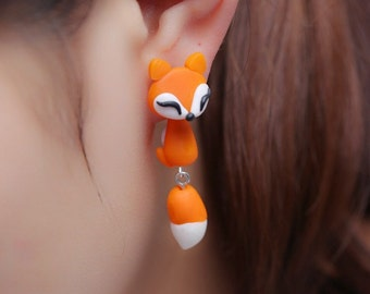 Orange Fox Animal Earrings