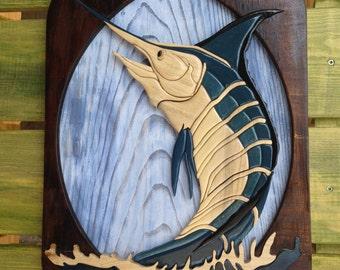 intarsia blue marlin