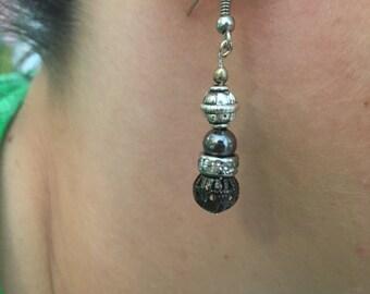 Silver & Crystal Beaded Earrings