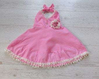 Pink baby dress, pink toddler dress, pink baby frock, toddler frock, baby ruffle dress, toddler sundress
