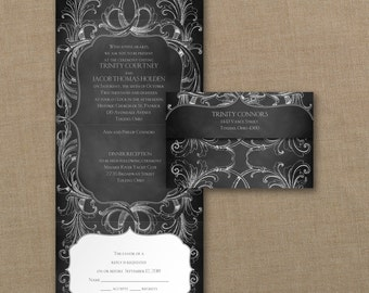 Seal and Send Chalk Board Flourish Invitation SAMPLE ONLY