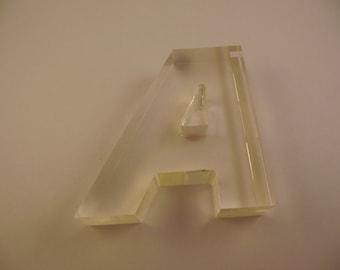 Clear Lucite Letter A Alphabet Initial Retro Décor