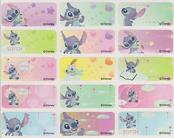 48/96 Lilo & Stitch Personalised Name Label Stickers - 96 Med Dishwasher Safe Labels