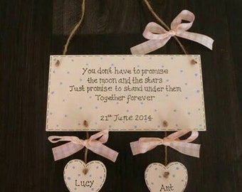 Personalised Wooden Gift Plaque for Engagement/Wedding/Civil Partnership