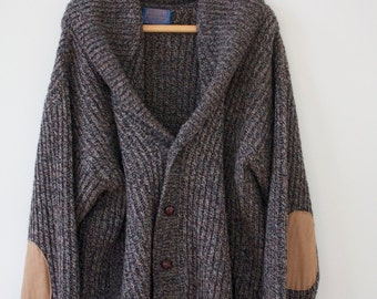 Cozy grey knit cardigan with elbow pads