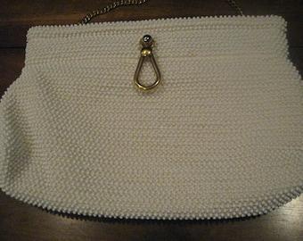 Vintage, ivory/white beaded purse, Lumured