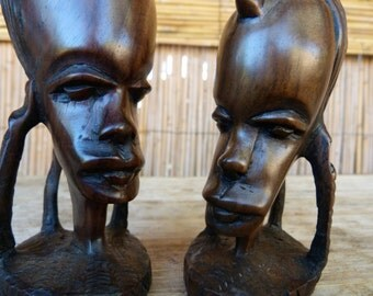 Chief and Wife Head Sculpture