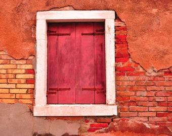 Photograph: Brick Wall in Murano; Italy; Red; Window; City