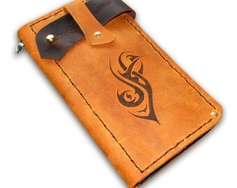 Handmade Leather Biker Wallet - with your design pyroed on