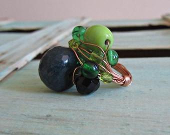 "Green ""Stones"" ring"