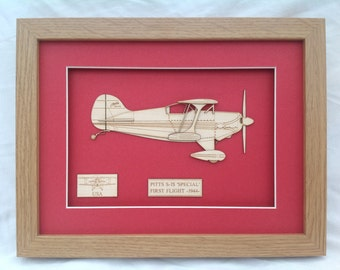 Aerobatic Airplane Pitts S1s Special 1944 - Laser engraved-cut original 2D-3D picture