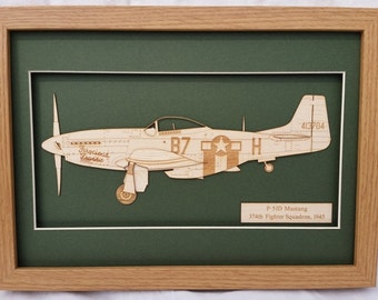 Airplane WW2 Battle of Britain US Airforce P51D Mustang - Laser engraved-cut original 2D-3D picture