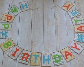 Boys Burlap Birthday Banner