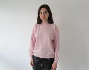 Vintage Ladies Pink Turtle Neck Sweater