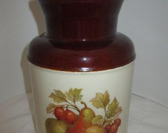 fruit canister, mccoy ceramic large brown jar