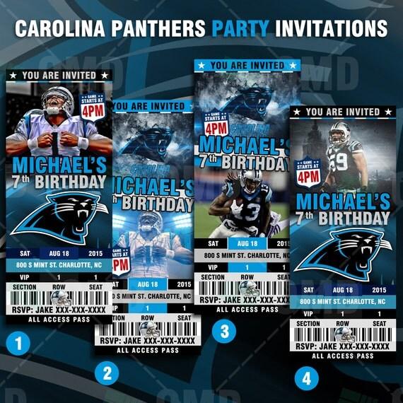 2.5x6 Carolina Panthers Sports Party Invitation by ...