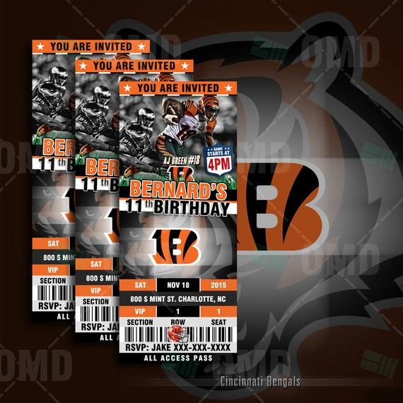 2.5x6 Cincinnati Bengals Sports Party Invitation By