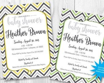 Baby Shower Invitation Printable { Gender Neutral } { Chevron }