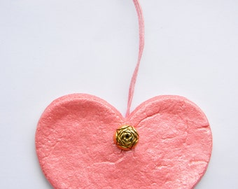 Pink Sparkle Love Heart Salt Dough Hanging Gift Ornament Mothers Day