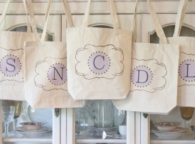 "6   ""CLASSIC TOTES"" -Monogrammed tote bags- Bridesmaid Tote Bag - Personalized by Modern Vintage Market"