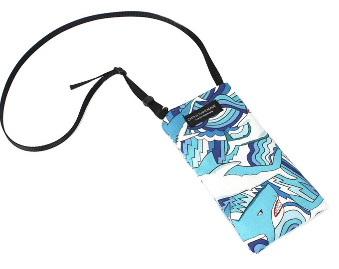 Eyeglass case for readers - Great White Shark Blue fabric Eyeglass Reader Case -with adjustable neck strap lanyard