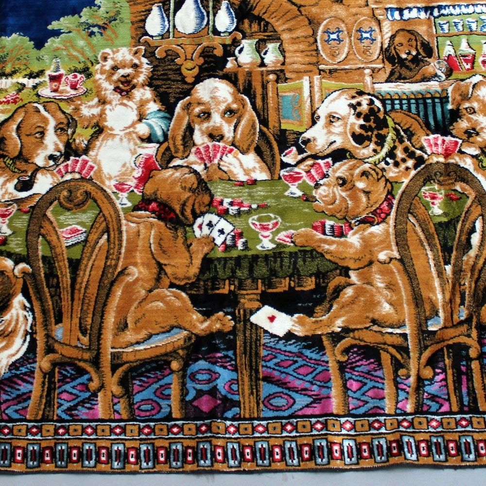 4x6 Ft Dogs Playing Poker Tapestry Rug Vintage Woven