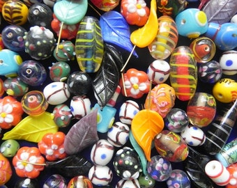 1 Pound vintage style supper delux handmade mix colour combination LAMPWORK cane beads mix ONE POUND.