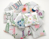 20 Dried Lavender Sachets - Embroidered Sachets - Wedding Favor - Vintage Linens - Embroidery