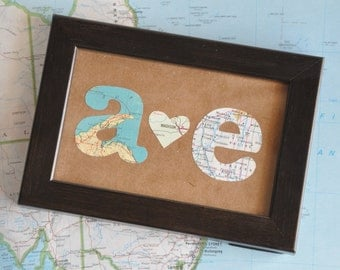 Gift for Him First Anniversary Gift For Him Map Gift Initials Framed