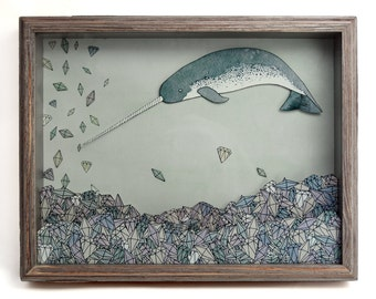 Where You Least Expect It- printed narwhal shadow box- MADE TO ORDER