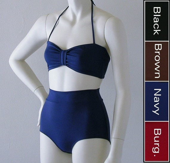 High Waisted Bikini Swimsuit Bottom and Retro Bandeau Top Two Piece Bikini in Black, Navy, Brown, or Burgundy in S-M-L-XL