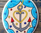 Ahoy Mate Hand Painted Toilet Seat by Debbie Is Adopted Anchor Sea Sailor