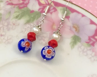 Fourth of July Earrings, Independence Day Earrings, Red White and Blue, Patriotic Earrings, 4th of July Earrings, KreatedByKelly