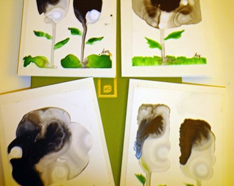 Hand painted blank greeting cards (4)