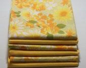 Fabric, fat quarters, quarter fats, reclaimed linen fat quarters, reclaimed sheet quarter fats, sewing fat quarters