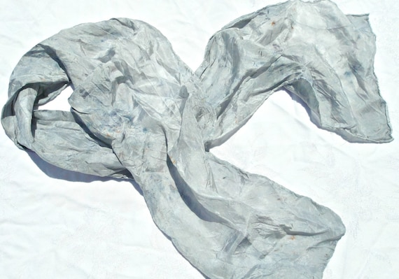 silk scarf handpainted grey with speckles