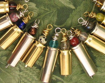 Blessing Bells - choose your favorite stone or glass bead - Bell made from Bullet Casing - Bullet Bell