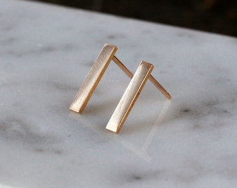 Gold Bar Earrings, 14k Yellow Gold Earrings, 14k Gold Bars, Gold Line Earrings, Modern Gold Posts, Simple Gold Earrings, Recycled Gold