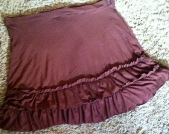 Brown jersey double ruffle s-l yoga