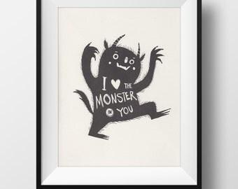 Fine Art Risograph Print - I Love the Monster in You Illustration