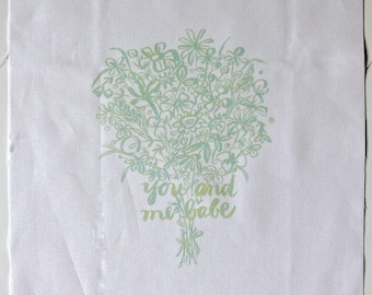 embroidery pattern on fabric You And Me Babe, seafoam green shades on white